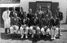 Group photo. - North Devon Cricket Clubhouse with Old Salopians or Shrewsbury Saracens 1932.