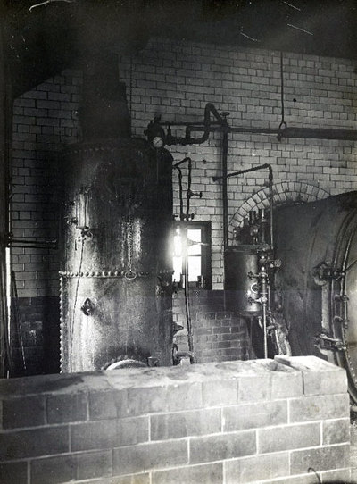 A boiler photographed at Widnes Gas Works during a visit by the Town Councillors.
