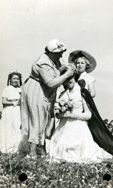 Liverpool MP Bessie Braddock at a Rose Queen Ceremony.