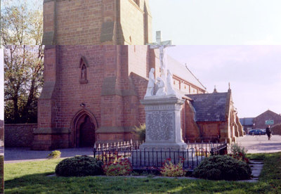 Memorial cross outside St Bedes Church