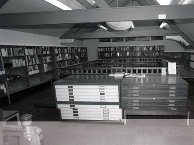 Interior of Widnes Library showing the gallery beforerenovations which hosted the railway collection and local studies collection.