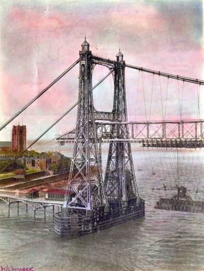 Hand coloured print of Transporter Bridge with St Marys Church in the background.