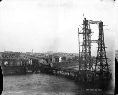 Construction of towers for Transporter Bridge.