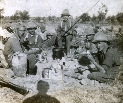 Group of soldiers taking a well-earned break
