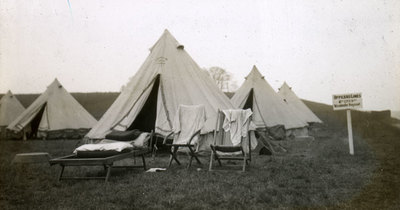 View of tents at Heaton Park with sign which reads Officers line 2nd City Battalion Manchester Regiment
