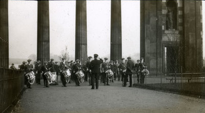 The newly formed drum andamp; bugle band rehearse at Heaton Park, Manchester