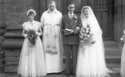 Wedding of Betty Dewsnap, daughter of Hugh and Sarah, and Wilfred Gould.