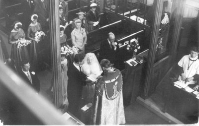 Wedding of T Ray Clarke and M Shirley E Cheetham.