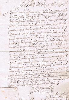 Certificado militar expedido por el Marquès de los Vélez a .. en la expulsion de los Judios de Oran