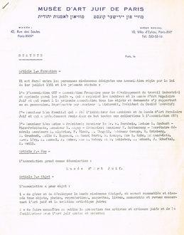 Les Statuts du Musée d'Art Juif de Paris