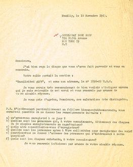 Lettre adressée le 10/11/1963 à Doubleday Book Shop de New York