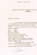 Lettre adressée le 22/05/1958 au Président du Tribunal Rabbinique de Mogador