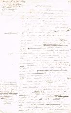 Lettre adressée le 19/08/1849 à Mr Drouyn de Lhuys, Secrétaire d'Etat des Affaires Etrangères