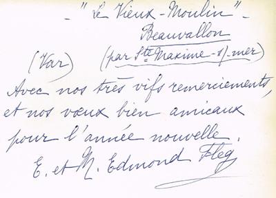 Photo du `Vieux Moulin` envoyée en 1962 à Raphaël Benazraf