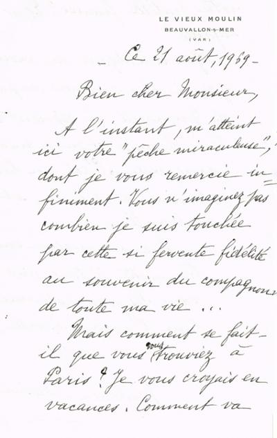 Lettre adressée le 21/08/1969 à Raphaël Benazeraf