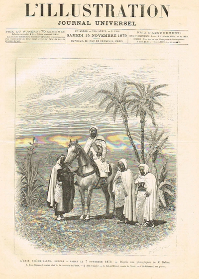 L'émir Abd-El-Kader, décédé à Damas le 7 novembre 1879