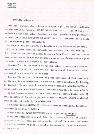 Courrier adressé le à la communauté juive marocaine à Madrid en 1969