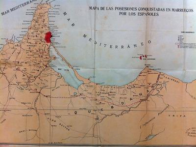 Mapa de las posesiones conquistadas en Marruecos por los espanoles