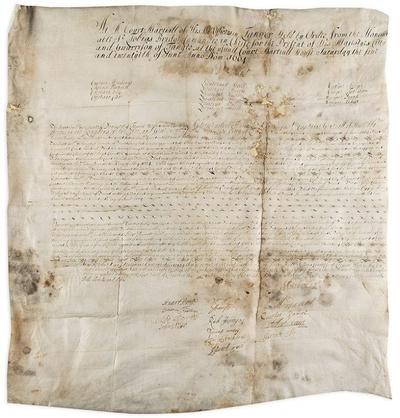 Document de la cour martiale accordant une pétition de la comtesse de Teviot (Susanna De Melville), pour les biens de son défunt mari ou copie d'un testament, daté à Tanger le 25 juin 1664, et signé par 15 officiers.
