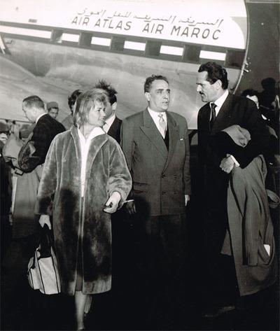 Brigitte Auber et Jacques Dumesnil à leur arrivée à Casa