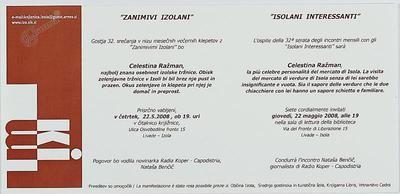 Zanimivi Izolani - Celestina Ražman, vabilo