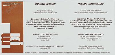Zanimivi Izolani - Dagmar in Aleksander Slekovec, vabilo