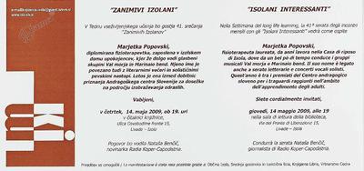 Zanimivi Izolani - Marjetka Popovski, vabilo
