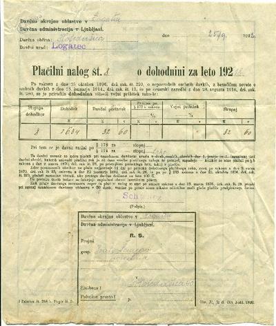 Plačilo dohodnine za l. 1918