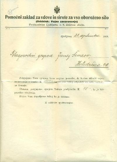 Dopis za vojno zavarovanje
