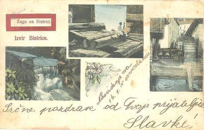 Izvir Bistrice na razglednici iz leta 1910
