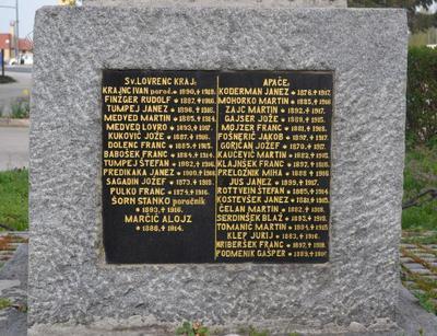 Spomenik 1. svetovne vojne v Lovrencu na Dravskem polju - plošča