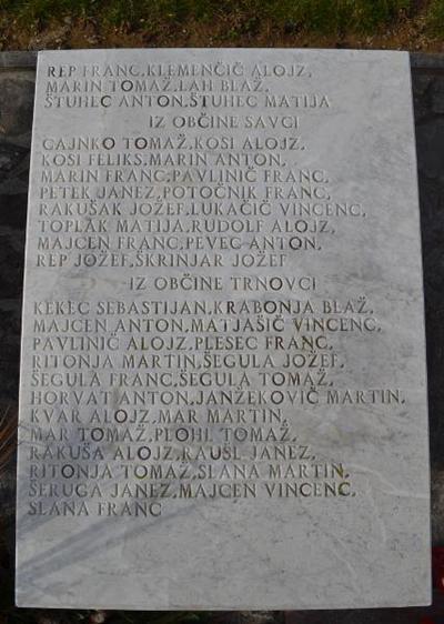 Spominsko obeležje pri Sv. Tomažu - 2. plošča žrtvam 1. sv. v.