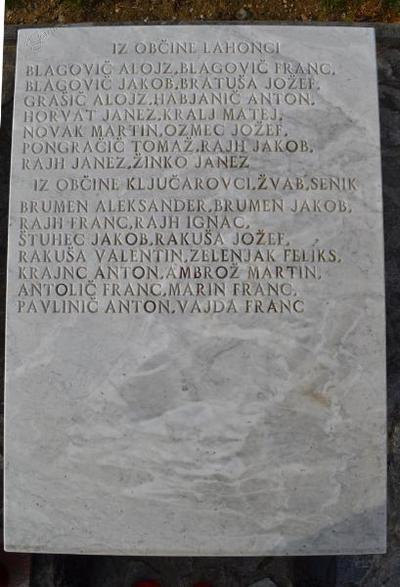 Spominsko obeležje pri Sv. Tomažu - 3. plošča žrtvam 1. sv. v.
