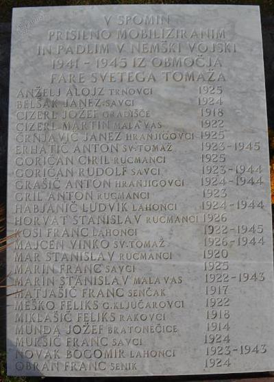Spominsko obeležje pri Sv. Tomažu - 2. plošča žrtvam 2. sv. v.