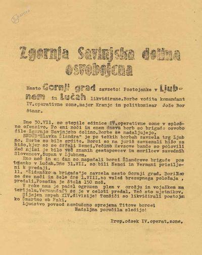 Partizanski letak z obvestilom o vojaških uspehih