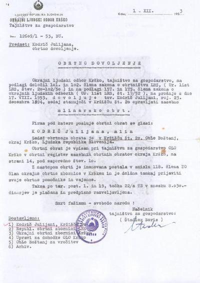 Obrtno dovoljenja iz leta 1953