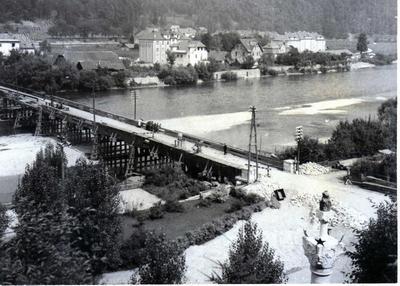 Stari leseni most v 60. letih 20. stoletja