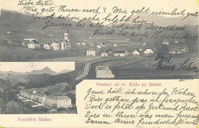 Pozdrav od Sv. Križa pri Slatini (ok. 1907)