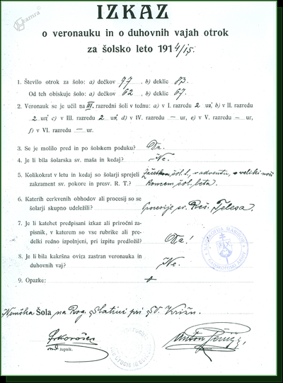 Izkaz o veronauku in duhovnih vajah otrok za šolsko leto 1914/15