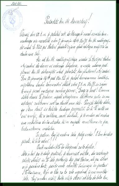 Pismo župnika Dekanije Rogatec Lavantinskemu konzistoriju v Mari