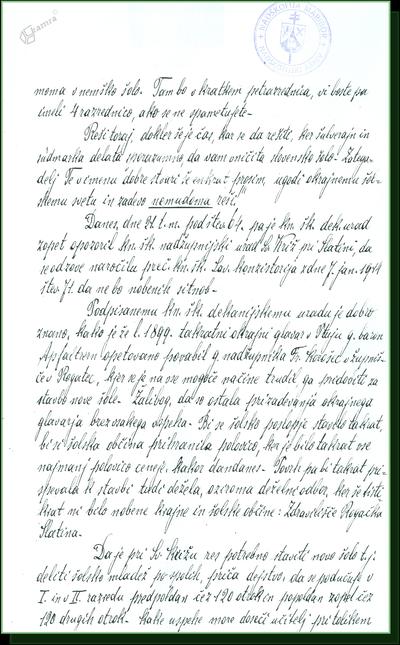 Pismo župnika Dekanije Rogatec Lavantinskemu konzistoriju v MB