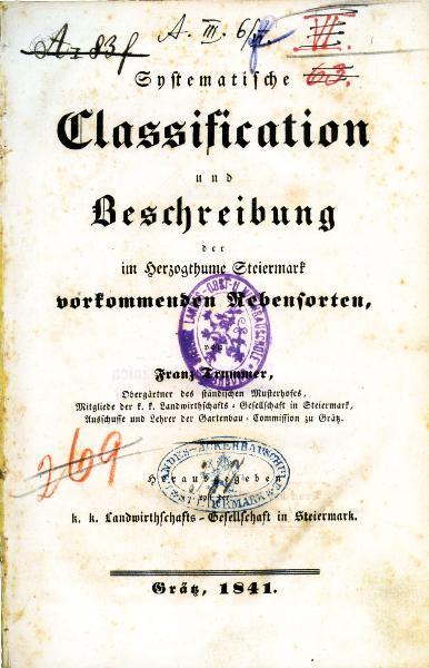 Sistematična klasifikacija in opis sort vinske trte