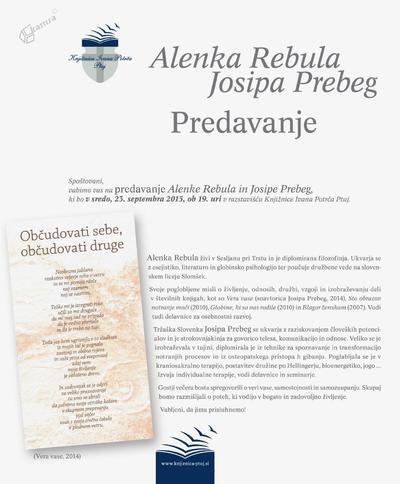 Predavanje Alenke Rebule in Josipe Prebeg - vabilo