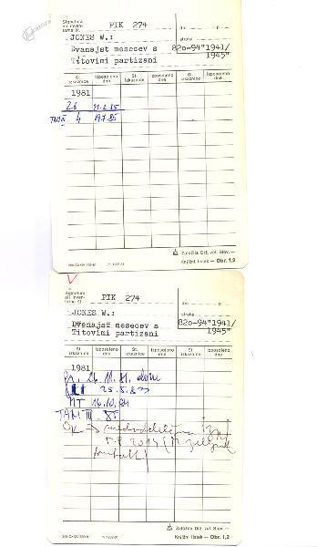 Primer knjižnih listkov oz. zadolžnic