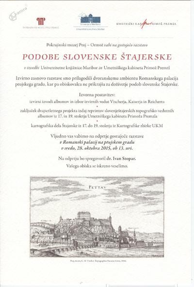 Razstava Podobe slovenske Štajerske - vabilo