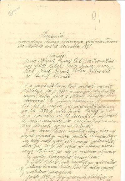 Zapisnik bistriške čitalnice iz leta 1891