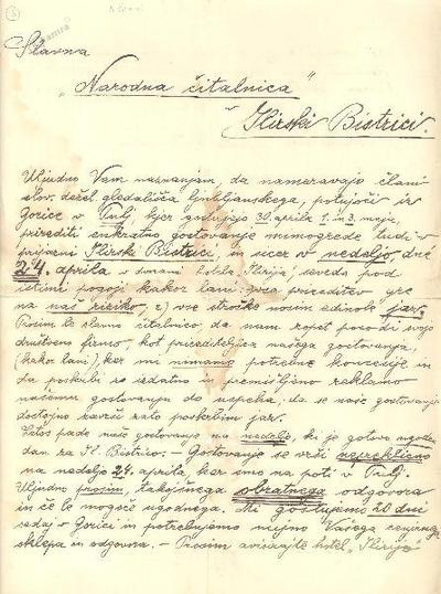 Pismo slovenskega deželnega gledališča Narodni čitalnici v Ilirs