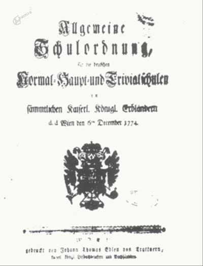 Naslovnica šolske naredbe 1774