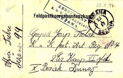 Dopisnica, 21. 1. 1917