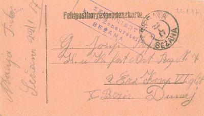 Dopisnica, 22. 1. 1917